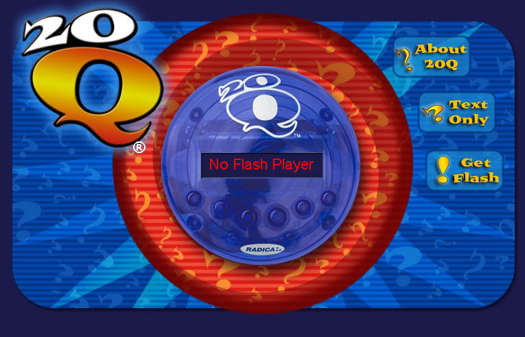 Screenshot of 20Q game implemented in Flash